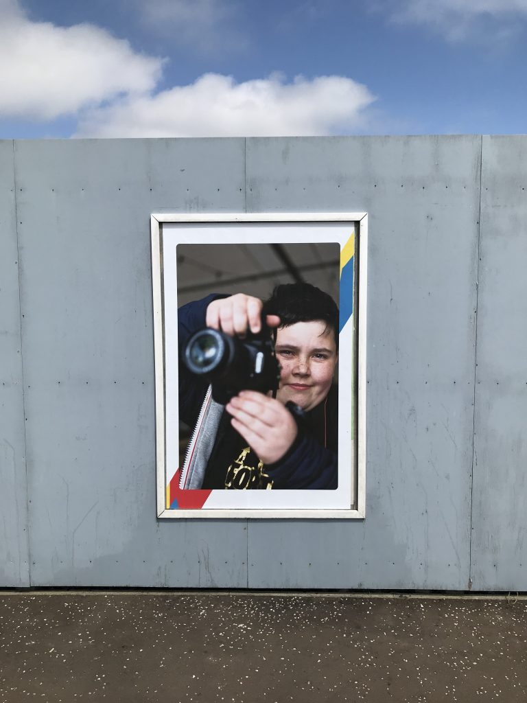 A participant in the Menzieshill Outdoor Art Project photographed by Eoin Carey